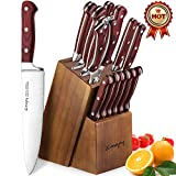 Emojoy Knife Set, 15-Piece Kitchen Knife Set with Block Wooden, Manual Sharpening for Chef Knife...