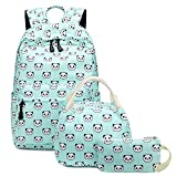 Abshoo Lightweight Cute Panda Backpacks for Girls School Backpacks With Lunch Bag (3pc Panda Teal)