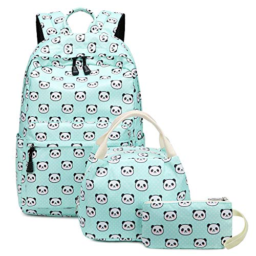Abshoo Lightweight Cute Panda Backpacks for Girls School Backpacks With Lunch Bag (3pc Panda Teal)