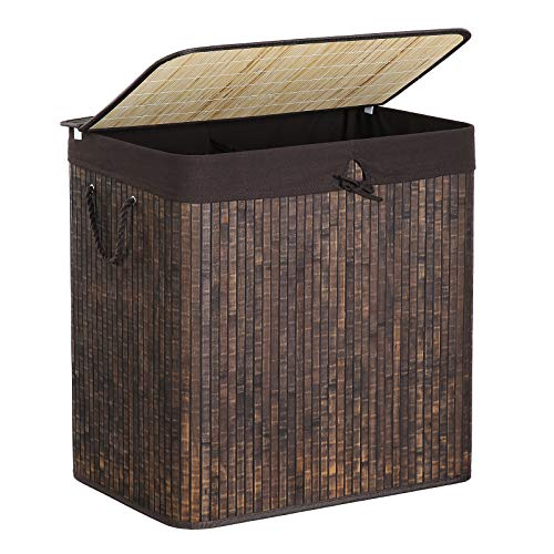SONGMICS Double Laundry Hamper with Lid, Divided Laundry Basket with Cotton Handles, Bamboo Hamper with Liner for Laundry Room, Bedroom, 151L, Rustic Brown ULCB65WN