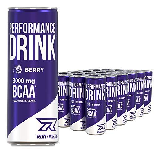 Runtime BCAA Energy Drink - Berry - volle Power, Energie und Fokus für Arbeit, Sport, Studium und Gaming, mit Koffein und Grüner Tee Extrakt, 24 x 250 ml Dosen
