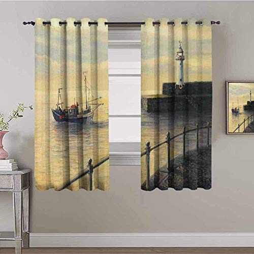 XLDYSC Kitchen Blackout Curtains Soft Window Treartment - Sky Beach Sailboat Building - Thermal Insulated Curtains Home Curtains Bedroom Girls 280X300Cm