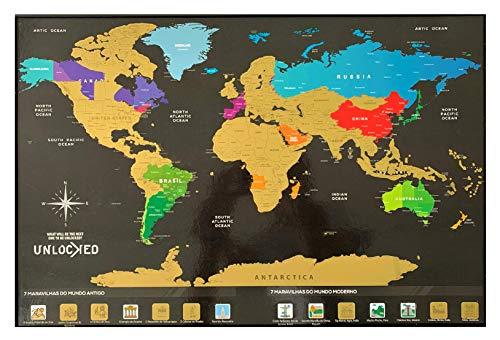 Mapa Mundi de Raspar 60x42 cm | Unlocked | Sem moldura | Scratch off Brazil Map | Mapa Raspadinha