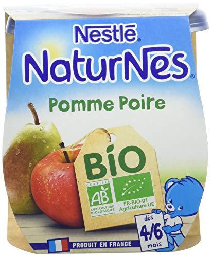 NESTLE NATURNES BIO Compotes Bébé Pomme Poire - Dès 4/6mois - 2x115g - Pack de 12 (24 Compotes)
