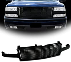 VXMOTOR Horizontal Front Bumper Grill Grille (Black) for 1999-2002 Chevy Silverado, 2000-2005 Chevy Tahoe/Suburban Model