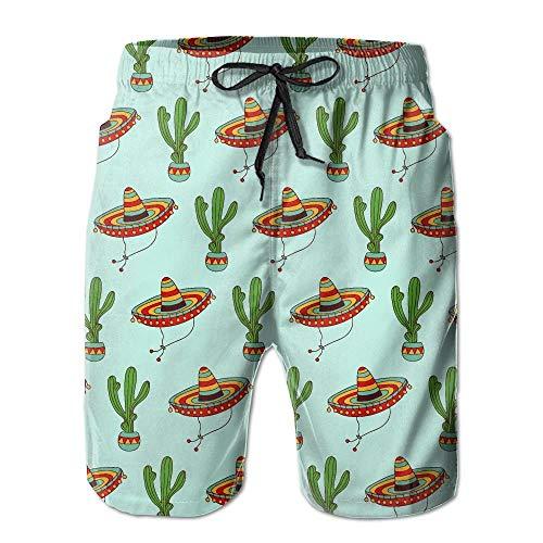 Mexicaanse Sombrero Hoed Cactus Patroon Heren Zomer Strand Sneldrogende Surf Zwemmen Trunks Boardshorts Cargo Broek