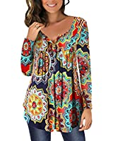 Mystry Zone Women Long Sleeve Shirts Orange Floral Print Buttons V Neck Tops XL