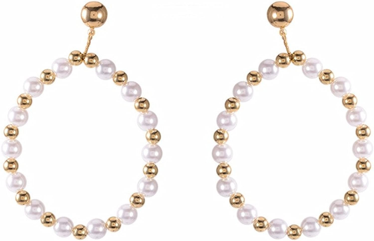 Dana Carrie European and American style exaggerated ears the large circle ear pendant quality pearl earrings