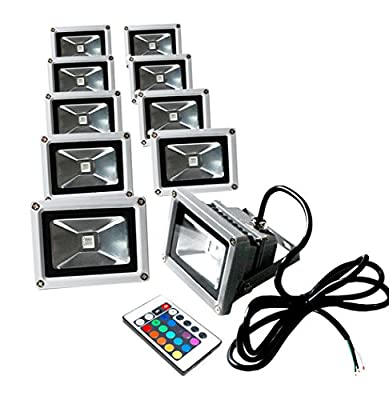 eTopLighting 10W RGB LED Flood Light 24 Key Remote Control 16 Color Changing Outdoor Waterproof Security Lamp