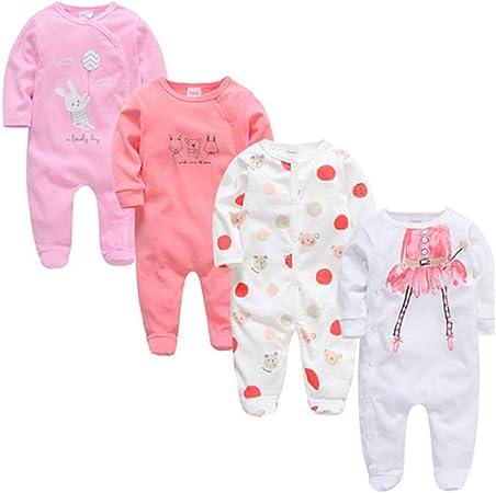 Paquete de 4 Conjunto de Pijama para Bebé Mamelucos de Manga ...