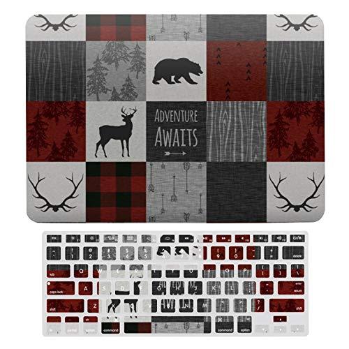 Carcasa rígida para MacBook New Pro 13 Touch A1706, A1989, A2159, carcasa rígida y funda para teclado para Apple Mac New Pro 13 Touch, Adventure Awaits Red Black Grey Laptop Shell Set