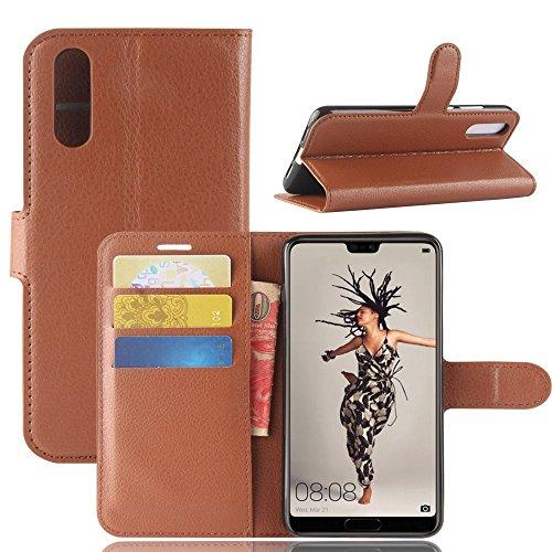 CoverKingz Handyhülle für Huawei P20 Pro - Handytasche mit Kartenfach P20 Pro Cover - Handy Hülle klappbar Braun