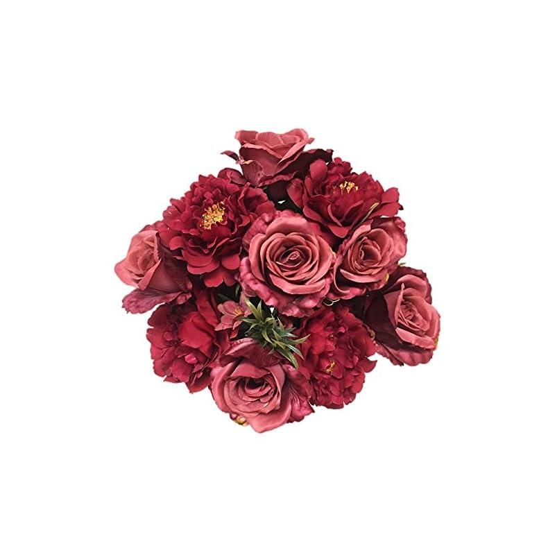 """silk flower arrangements silk flower garden artificial roses and peonies autumn mix bouquet 14 heads 21"""", burgundy"""