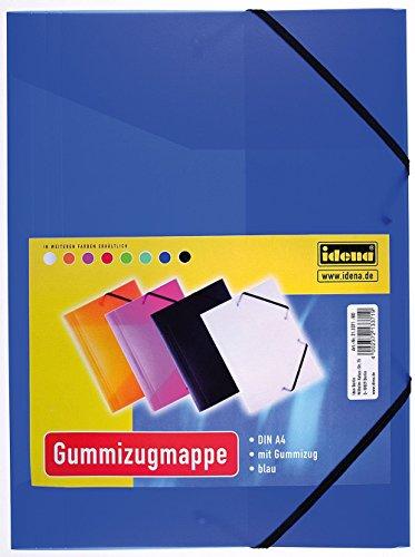 Idena 213371 - Gummizugmappe für DIN A4, aus Polypropylen, transluzent blau, 1 Stück