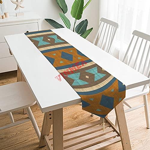 Camino de mesa bufandas, azul turquesa turquesa verde azulado naranja marrón arte camino de mesa para el hogar, cocina, cena, boda, eventos, decoración - 33 x 70 pulgadas,