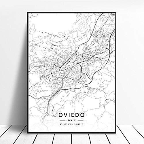 shuimanjinshan Elche Pamplona Vitoria-Gasteiz Madrid Albacete Santander Oviedo España Lienzo Arte Mapa Cartel 50X70Cm No Frame W-96