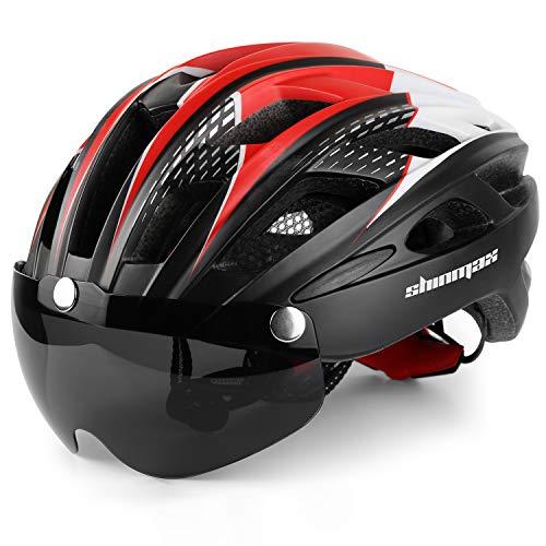 Shinmax 069 Bike Helmet, Cycle Helmet with LED Light, Safety Light, Goggles, Ultra Lightweight, High Rigidity, Road Bike Helmet, Adult Bicycle Helmet, Removable Shield Sun Visor, 22.4 - 24.4 inches (57 - 62 cm) Unisex