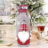2020 noël bouteille de vin sac anti-poussière décoration de noël lin bouteille de vin sac tissu noël poupée tenant vin ensemble F