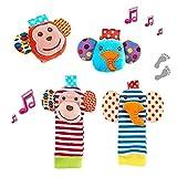 Tinabless Rassel Baby Rasselsocken Baby und Handgelenk Spielzeug Rasseln Set, Cartoon Tier Rassel Kleinkind Plüschtier Spielzeug für Neugeborene Mädchen Jungen Geschenk