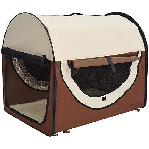 HOMCOM PawHut Transportin con Bolsa Transporte Perro Gato XL(81 x 56 x 66) Mascotas Plegable de Viaje