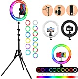 PHONE HOLDER AND LIGHT STAND - Ring Light has a rotating (360 degrees) phone holder and a retractable tripod (upto 7 feet) that effortlessly helps you capture different levels of brightness and angles of lighting! The phone holder is suitable for mos...