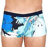 Hom Aqua Swim Shorts Costume a Pantaloncino, Gros Imprimé Floral Camaieu de Bleus, Ceinture Marine, S Uomo