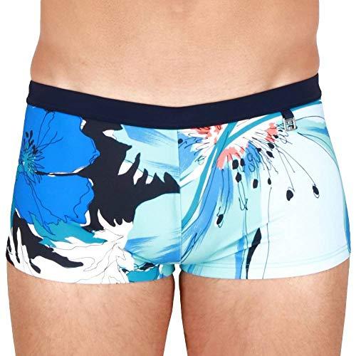 HOM Herren Aqua Swim Shorts Badehose, Gros Imprimé Floral Camaieu De Bleus, Ceinture Marine, XL