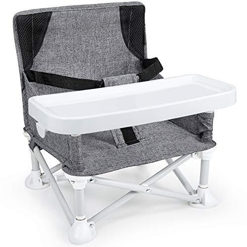 Mosbaby Kindersitz Babystuhl mit abnehmbarem Tablett, Tragbarer Reisen Boostersitz Sitzerhöhung für den Innen-/Außenbereich, Faltbarer Kinderstuhl zum Essen und Spielen, für Baby 6-36 Monate, Grau
