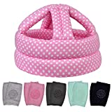 Baby Safety Helmet & 5 PCS Baby Knee Pads for Crawling, Baby Head Protector & Infant Helmet, Suitable for Age 6-36 Months, Pink Dots