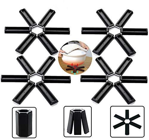 Almohadilla de silicona plegable de aislamiento térmico, alfombrillas de salvamanteles plegables de silicona, posavasos y almohadillas para orejas, mantel individual...