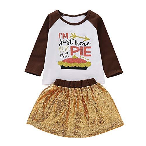 2pcs / set Fashion Cute Baby Girls Je suis juste ici pour la tarte Chemise Tops + Jupe Tutu Sequin (Size : 100)