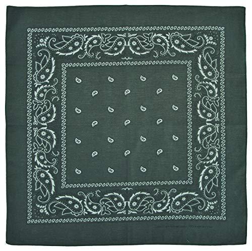 Bandana Tuch dunkelgrün 55 x 55cm 100% Baumwolle Kopftuch Halstuch