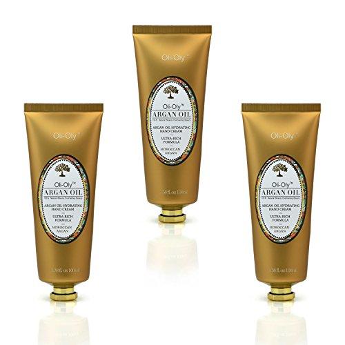 Oli-Oly Crème hydratante pour les mains à l'huile d'argan, au parfum doux | Formule ultra-riche - Argan marocain - 3 x 100 ml