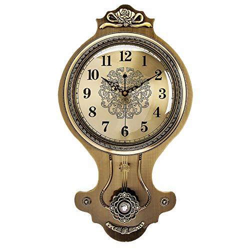 NgFTG Europea Arazzi Orologio, Swing Orologio A Pendolo,Decorazione American Style Orologio da Parete Funziona A Batteria Spazzare Movimento-b 35x62cm(14x24inch)