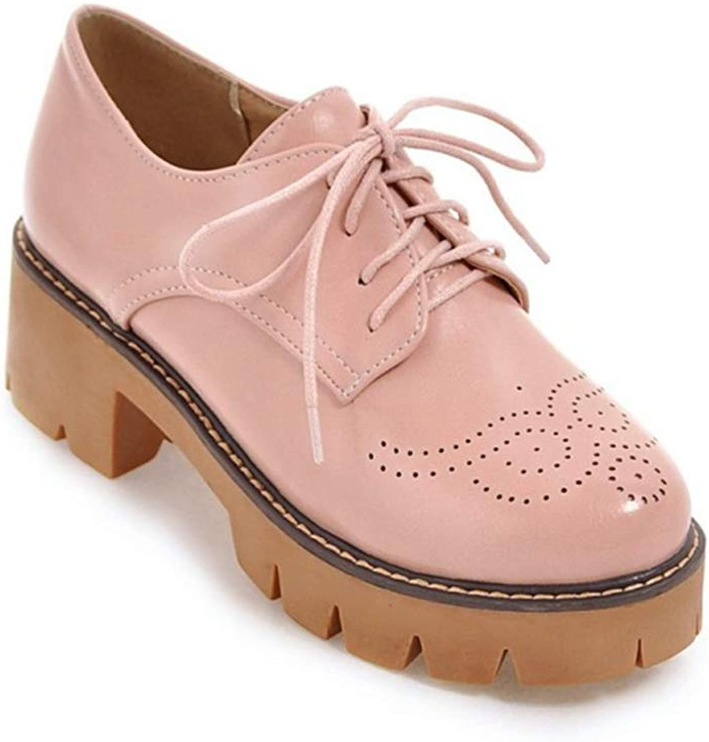 Elsa Wilcox Women Lace Up Perforated Chunky Mid Heel Vintage Dress Oxford Pumps Round Toe Platform Oxford shoes