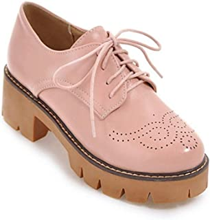 Bonrise Women's Round Toe Platform Oxford Shoes Lace Up Perforated Chunky Mid Heel Vintage Dress Oxford Pumps