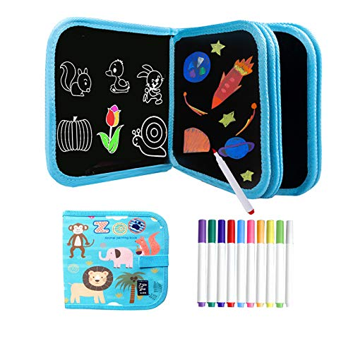 Kids Erasable Doodle Book Set - Toddlers Activity Toys Reusable Drawing Pads, Preschool Travel Art Toy Scribbler Board for Road Trip Car Game Writing Painting Set, Gift for Boys Girls Age 3,4,5,6