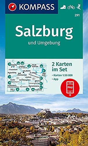 KOMPASS Wanderkarte Salzburg und Umgebung: 2 Wanderkarten 1:50000 im Set inklusive Karte zur offline Verwendung in der KOMPASS-App. Fahrradfahren. Skitouren. (KOMPASS-Wanderkarten, Band 291)