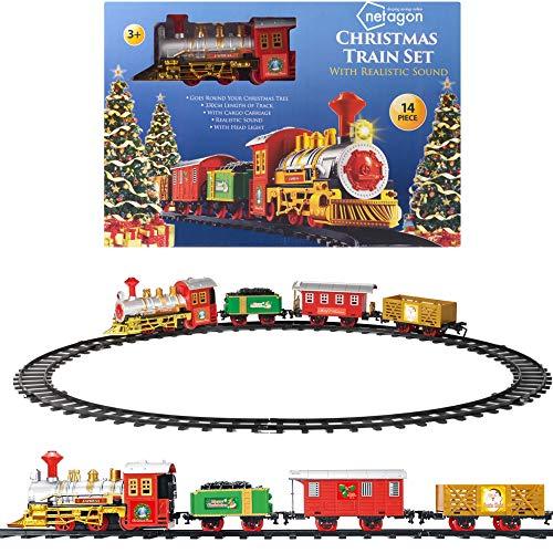 Netagon - Juego de tren de Navidad Santa Claus Express con vías para debajo del árbol con sonidos y luces realistas