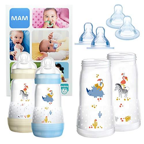 MAM Essential Bottle Set, Accessori bimbi con 2x Biberon Anti-Colic (260ml) e 2x Holder biberon anticolica (320ml), Biberon neonato con 4x tettarella mis. 3 e X per 6+ mesi, Bimbo
