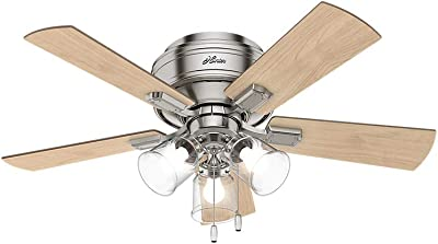 """HUNTER 52154 Crestfield Indoor Low Profile Ceiling Fan with LED Light and Pull Chain Control, 42"""", Brushed Nickel"""