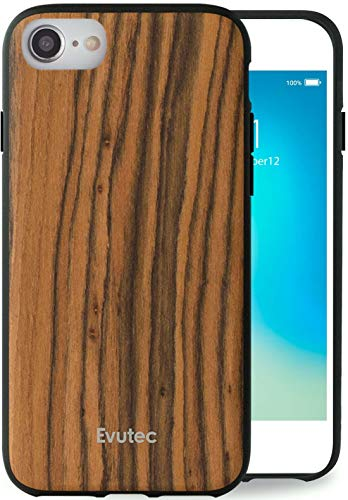 Evutec Case Compatible with iPhone 6/6s/7/8/SE(2020), AER Series Real Wood Thin Slim Protective Phone Case Cover Burmese Rosewood (AIFX+ Vent Mount Included)