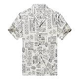 Hecho en Hawaii Camisa Hawaiana de los Hombres Camisa Hawaiana 4XL Lavado de Piedra Vendimia...