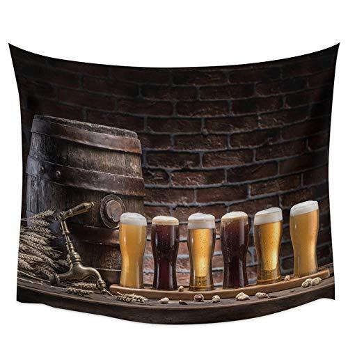 Tapiz de pared de cristal de vino de barril de cerveza de ladrillo de piedra retro para la pared, toalla de playa, picnic, esterilla de yoga, decoración del hogar, 150 x 200 cm