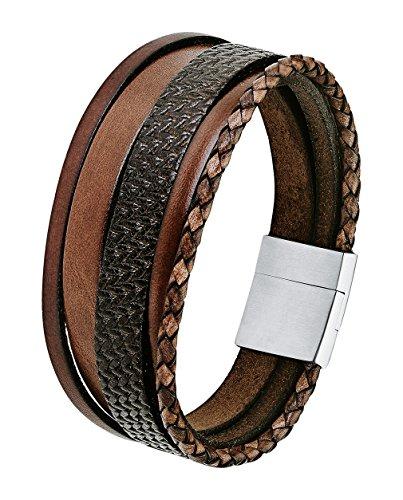 S.Oliver Herren Armband mehrreihig Edelstahl Leder Magnetverschluss 21 cm braun