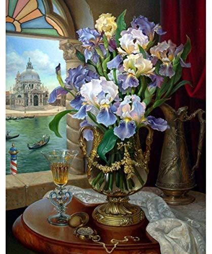 Verf op nummer voor volwassenen en kinderen Diy Olieverfschilderij Cadeausets Voorgedrukt Canvas Art Woondecoratie-Vensterbank Bloemen 16X20 inch (geen frame)