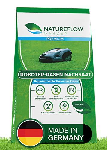 Natureflow Premium Rasensamen für Mähroboter Nachsaat 1kg - Rasenmischung Roboter - Roboterrasen Grassamen zur Reparatur von kahlen Stellen - Schnellkeimend und Selbstdüngend