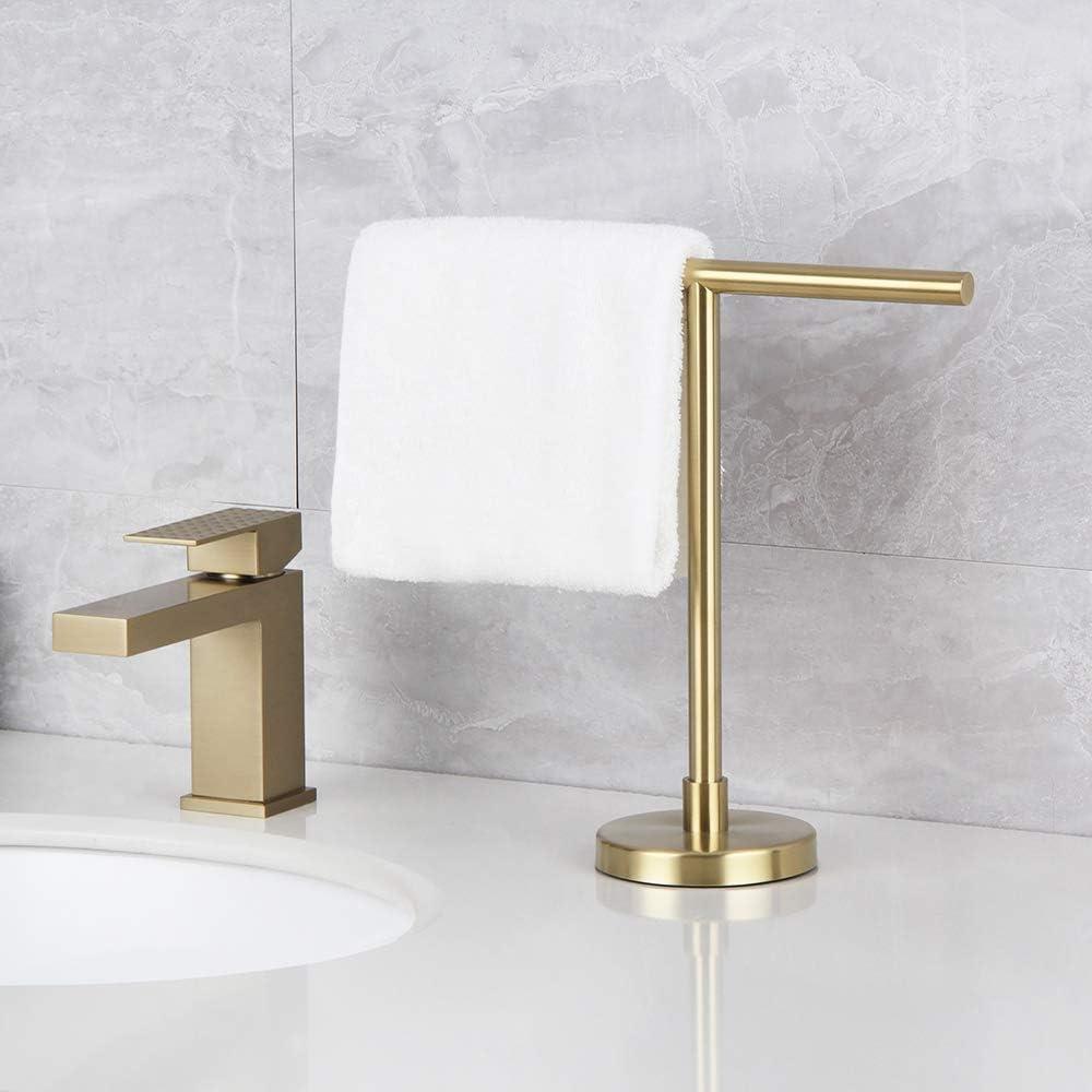 Kitchen or Vanity Hand Towel Holder Modern Hand Towel Stand for Bathroom Free Standing Brushed PVD Zirconium Gold Countertop Rack