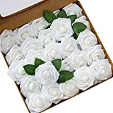 Ksnnrsng Rosa Rosse Artificiali, Fiori Artificiali Schiuma Teste di Rose Finti per DIY Matrimoni Mazzi Nuziale Festa Casa Decorazioni (25 Pezzi, Bianca)