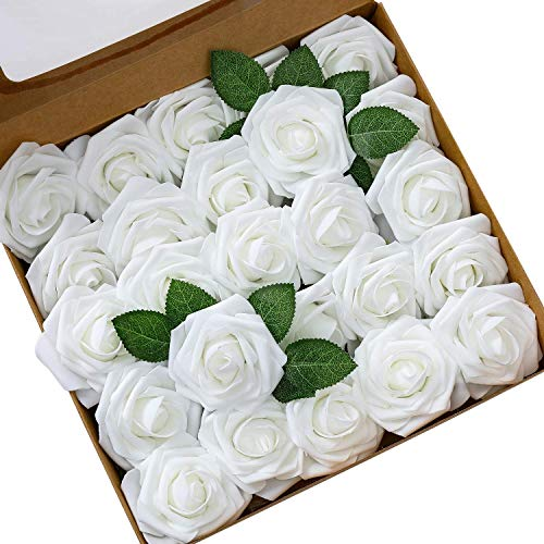 Ksnnrsng Flores Rosas Artificiales Espuma Rosa Falsa para Manualidades, Ramos de Novia, centros de Mesa, Despedidas de Soltera y Decoración del Hogar (25 Piezas, Blanco)